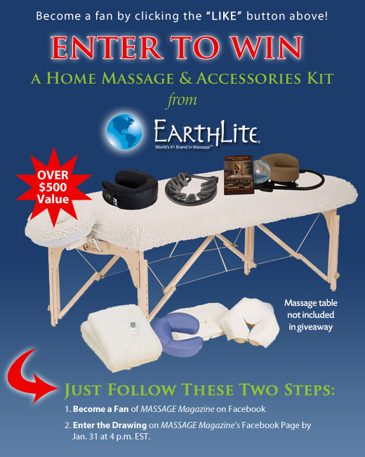 MASSAGE Magazine Partners with EarthLite in January Facebook Giveaway, MASSAGE Magazine