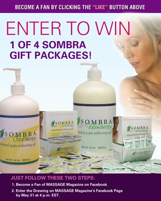 MASSAGE Magazine Partners with Sombra to Offer Gift Packages in May Facebook Giveaway