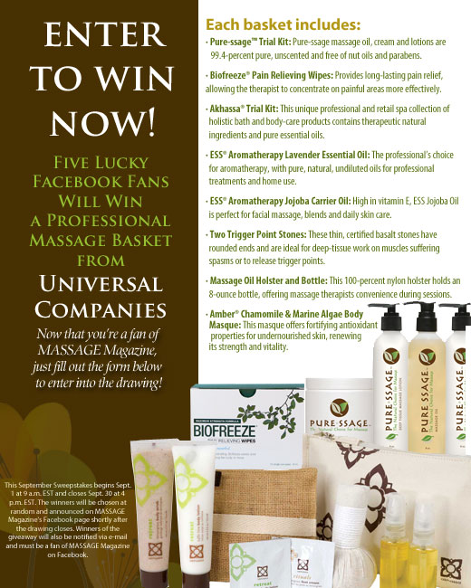 MASSAGE Magazine Partners with Universal Companies in September Facebook Giveaway, MASSAGE Magazine