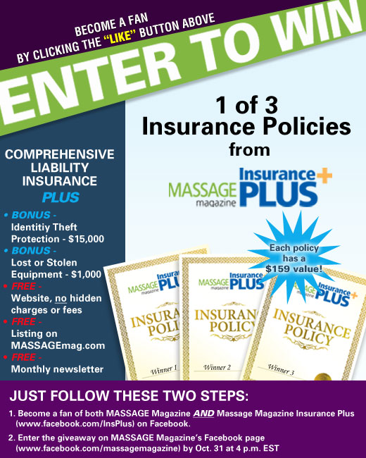 MASSAGE Magazine Partners with Massage Magazine Insurance Plus in October Facebook Giveaway