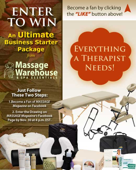 MASSAGE Magazine Partners with Massage Warehouse in November Facebook Giveaway, MASSAGE Magazine