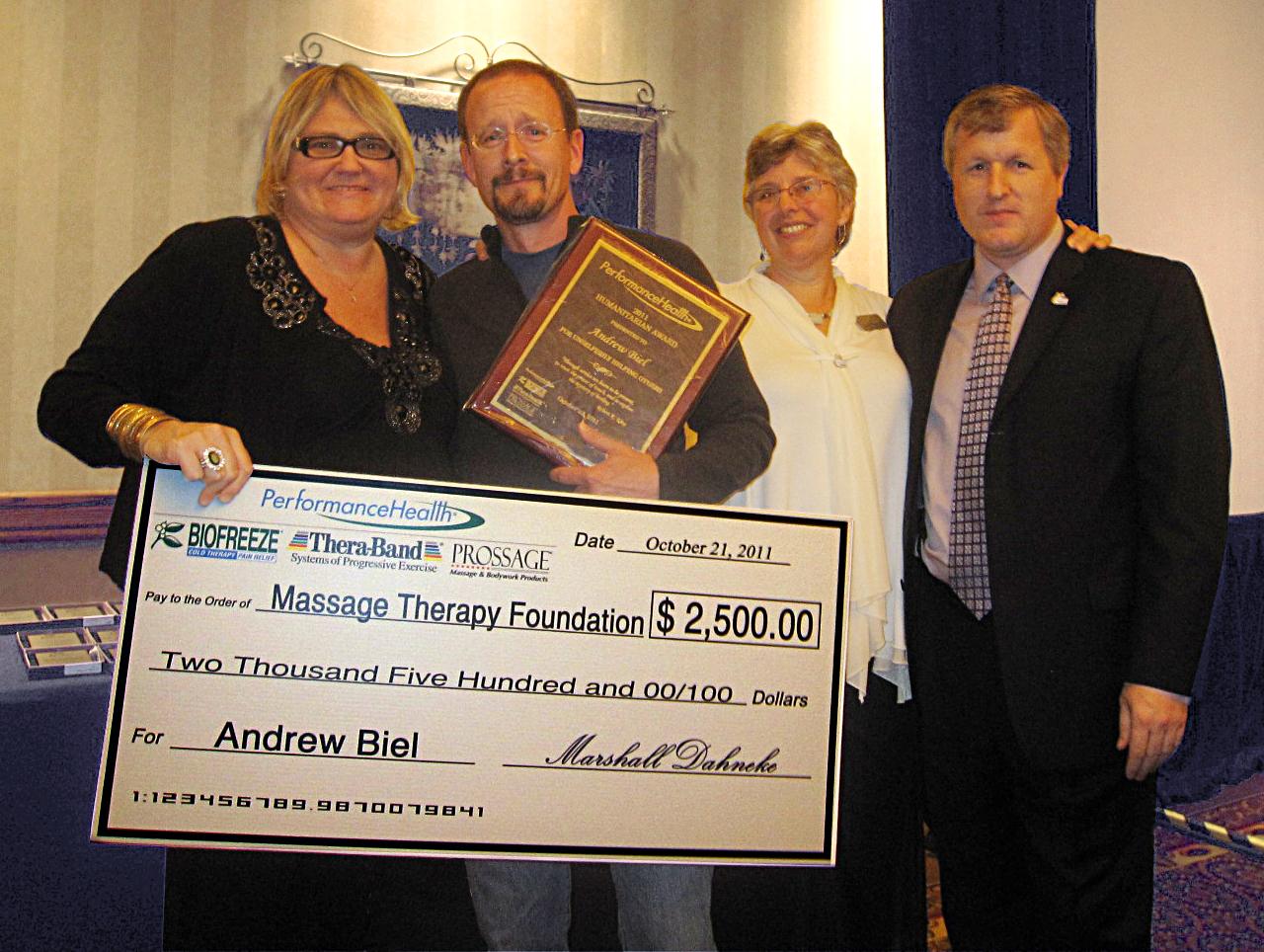 Andrew Biel Receives the Massage Therapy Foundation/Performance Health 2011 Humanitarian Award, MASSAGE Magazine
