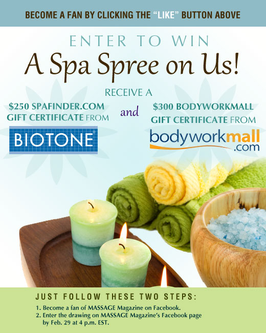 MASSAGE Magazine Partners with BIOTONE and Bodyworkmall to Offer Gift Certificates in February Facebook Giveaway, MASSAGE Magazine