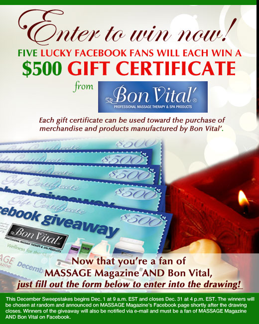 MASSAGE Magazine Partners with Bon Vital in December Facebook Giveaway, MASSAGE Magazine
