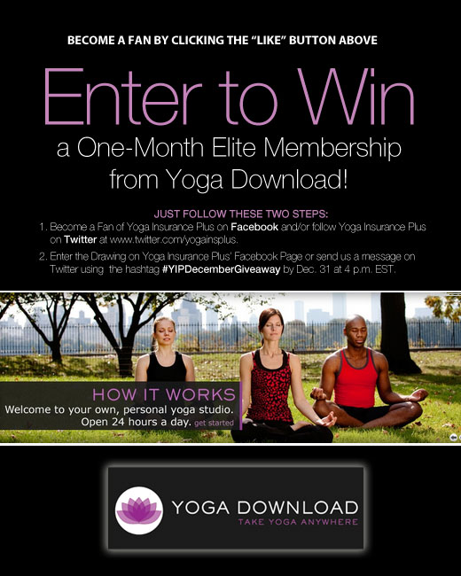 Yoga Insurance Plus Partners with Yoga Download in December Giveaway, MASSAGE Magazine