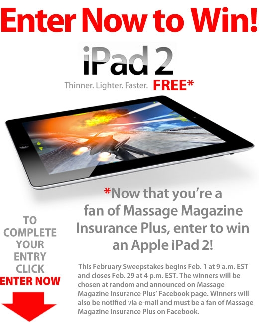 Massage Magazine Insurance Plus Offers iPad 2 in February Facebook Giveaway, MASSAGE Magazine