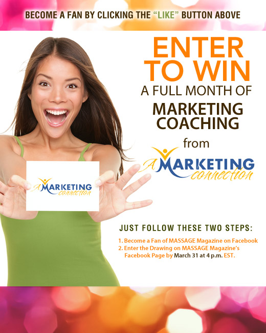 MASSAGE Magazine Partners with A Marketing Connection in March Facebook Giveaway, MASSAGE Magazine