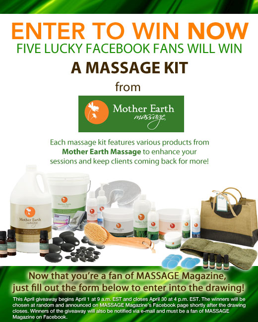 MASSAGE Magazine Partners with Mother Earth Massage in April Facebook Giveaway, MASSAGE Magazine