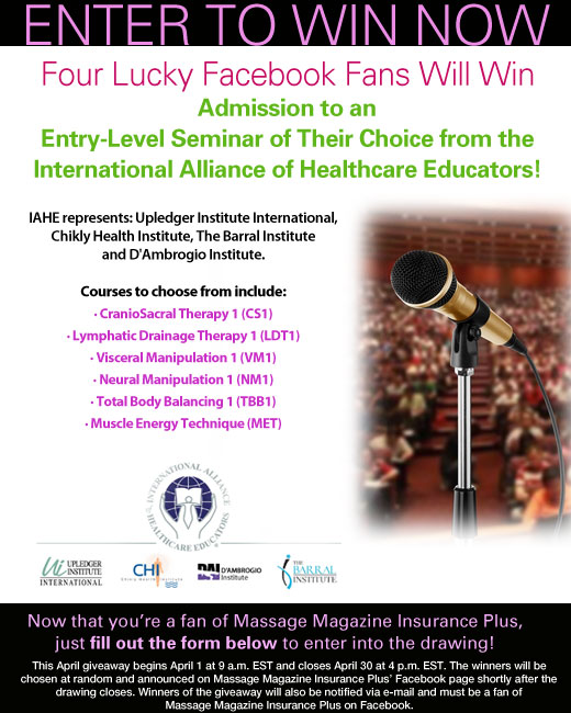 Massage Magazine Insurance Plus Partners with International Alliance of Healthcare Educators in April Facebook Giveaway, MASSAGE Magazine