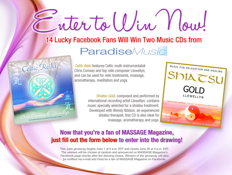 MASSAGE Magazine Partners with Paradise Music in June Facebook Giveaway, MASSAGE Magazine