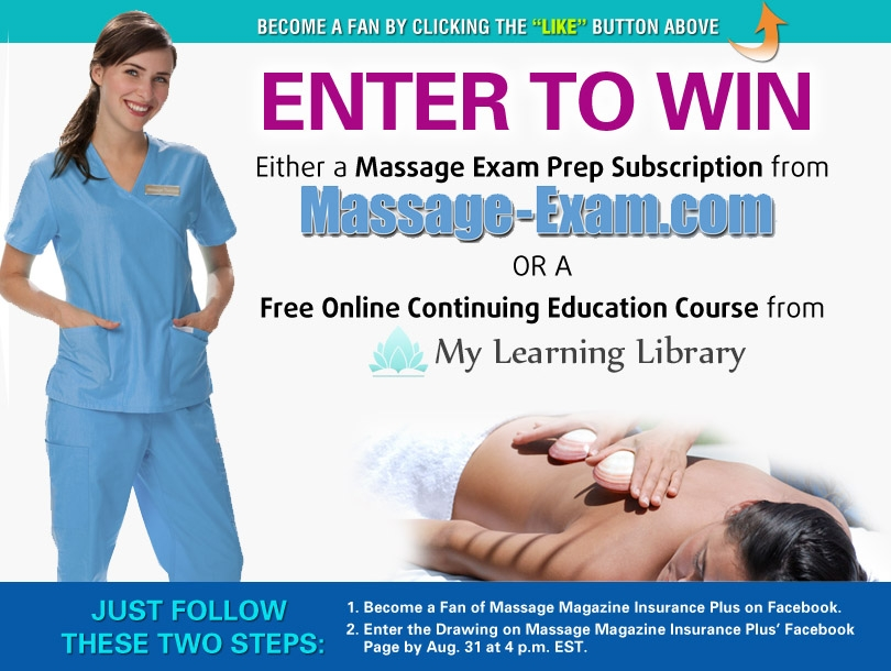 Massage Magazine Insurance Plus Offers Educational Opportunities in August Facebook Giveaway, MASSAGE Magazine