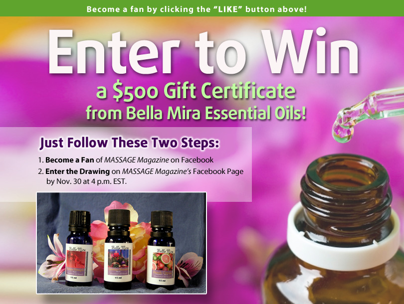 MASSAGE Magazine Partners with Bella Mira Essential Oils in November Facebook Giveaway
