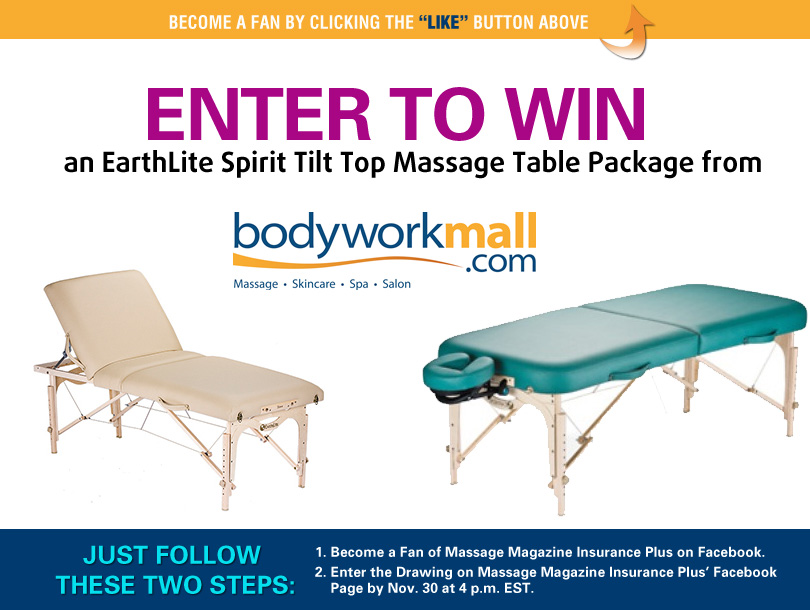 Massage Magazine Insurance Plus Partners with Bodyworkmall in November Facebook Giveaway