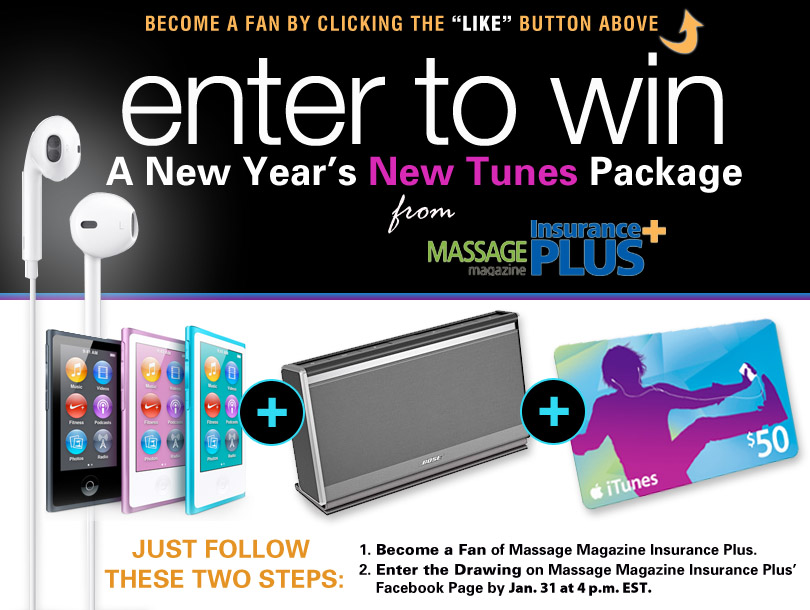 Massage Magazine Insurance Plus Offers Music Prize in January Giveaway, MASSAGE Magazine