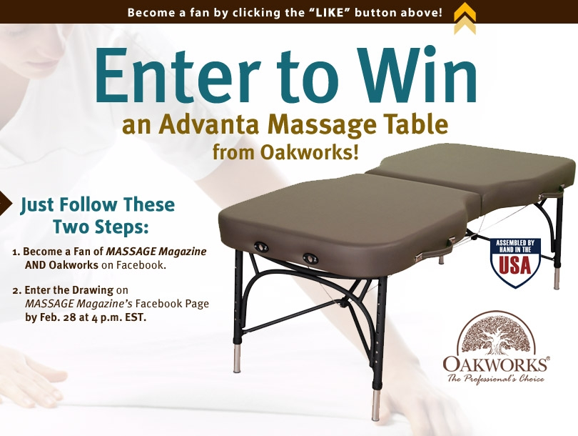 Win an Oakworks Massage Table in MASSAGE Magazine's February Facebook Giveaway