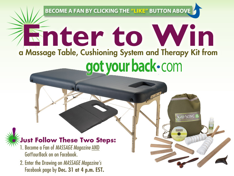 MASSAGE Magazine Partners with GotYourBack in Final Facebook Giveaway of 2012