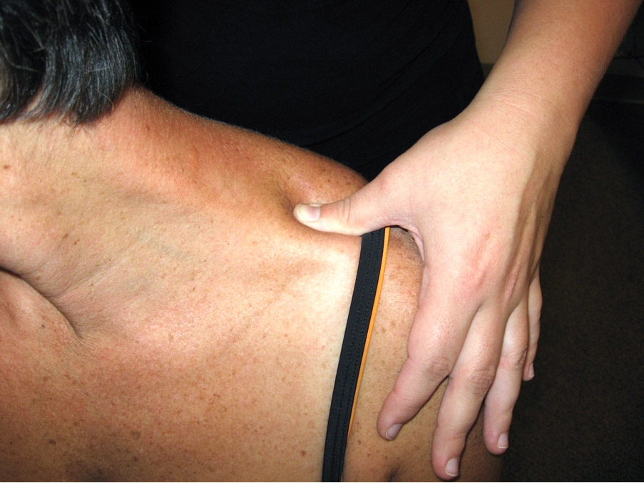 Acupressure performed on shoulder meridians to open up universal energy for blood and lymph flow.