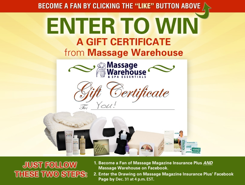 Massage Magazine Insurance Plus Partners with Massage Warehouse in December Facebook Giveaway