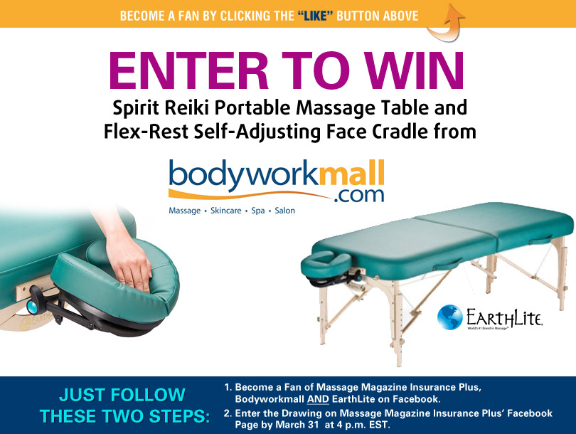 Massage Magazine Insurance Plus Partners with Bodyworkmall to Offer an EarthLite Massage Table Package in March Giveaway, MASSAGE Magazine