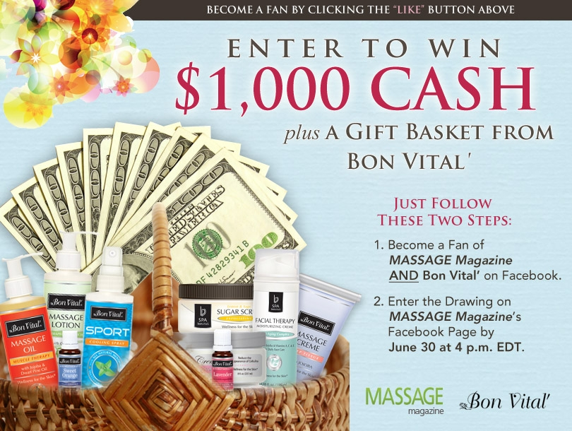 Massage Therapists: Win $1,000 and Massage Supplies in MASSAGE Magazine's June Giveaway, MASSAGE Magazine