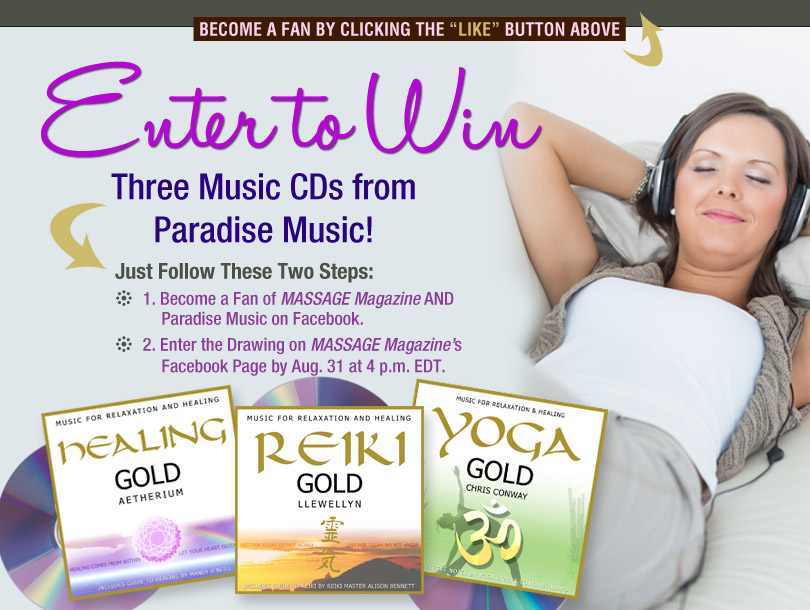 Win Massage Music CDs in August Giveaway for Massage Therapists, MASSAGE Magazine