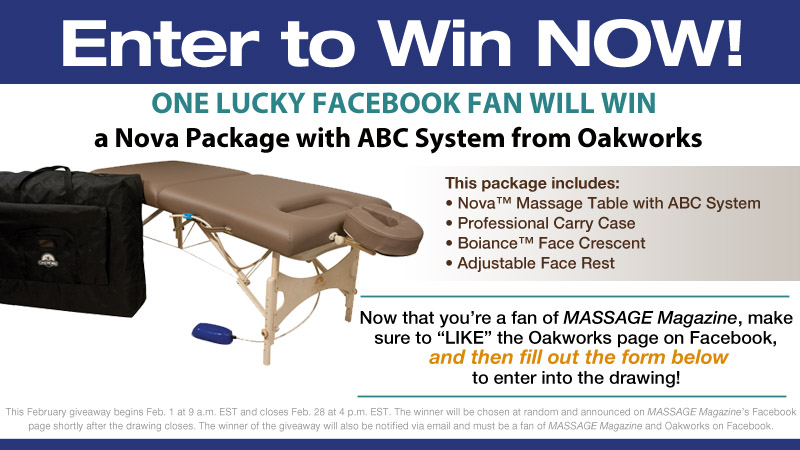 Massage Therapists: Win a Massage Table Package from Oakworks, MASSAGE Magazine