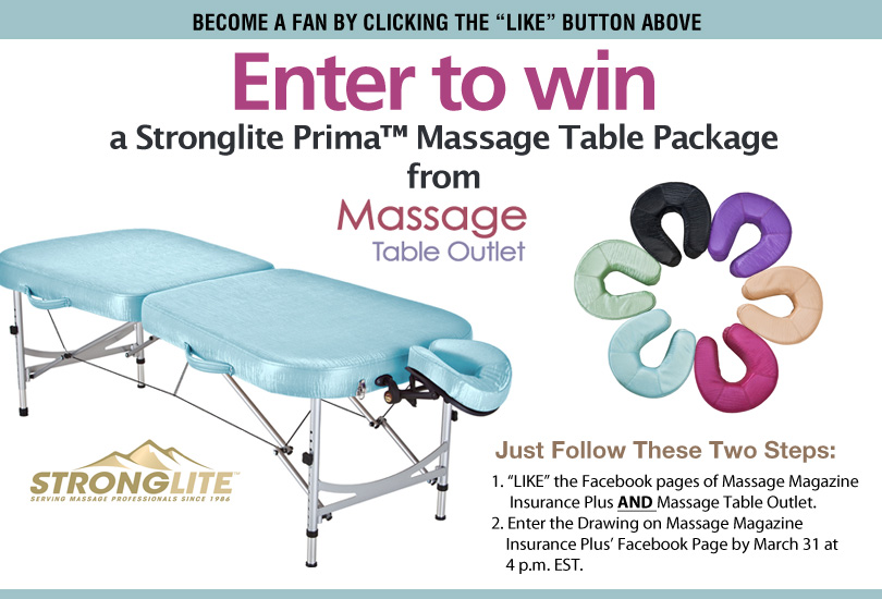 Massage Therapists: Win a Prima Massage Table Package from Massage Table Outlet, MASSAGE Magazine