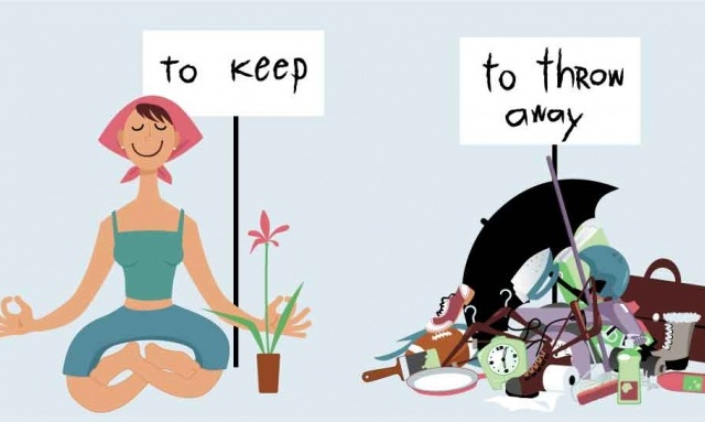 cartoon woman finding peace throwing away clutter and keeping a plant