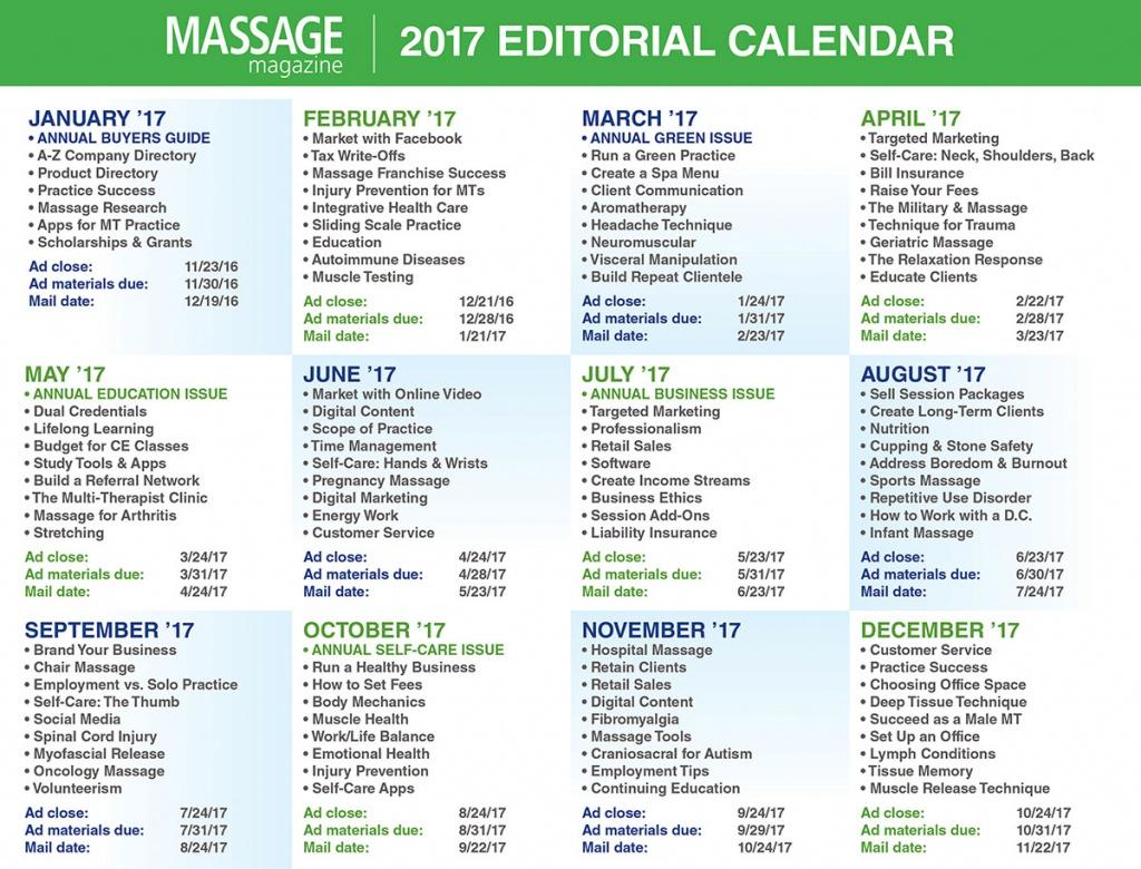 Massage Magazine Editorial Calendar