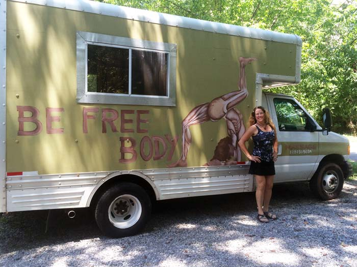 Bettina Freese and her massage truck