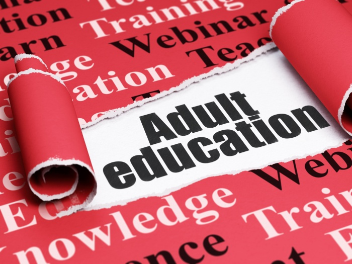 Learning concept: black text Adult Education under the curled piece of Red torn paper with Tag Cloud, 3D rendering