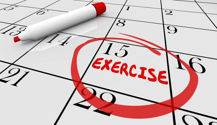 put exercise on the calendar