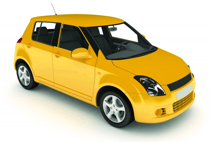 Isolated yellow car.
