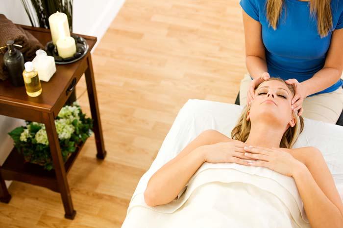 woman receiving a scalp massage