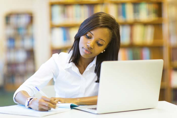woman studying exam resources